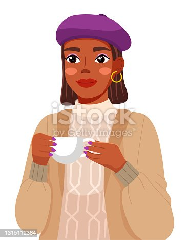 istock Portrait of young black woman wearing lilac beret and sweater. Cute girl holding a cup of tea 1315112364