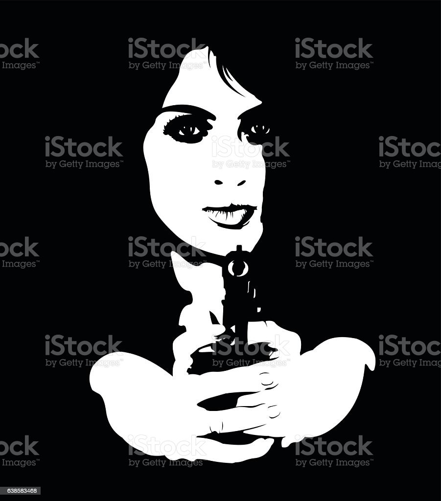 Portrait of young dangerous female spy aiming gun at camera vector art illustration