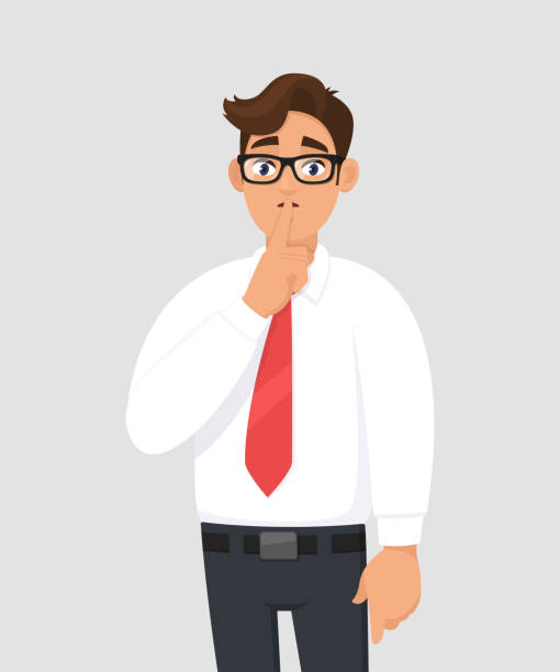 illustrazioni stock, clip art, cartoni animati e icone di tendenza di portrait of young handsome businessman making shh gesture, keeping secret or asking silence with finger on lips. keep quiet! shh! silence please! against gray/grey background in cartoon illustration. - silenzio