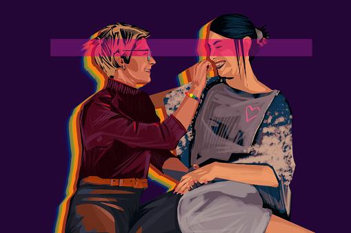 Portrait of young lesbian couple