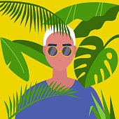 A portrait of young male character standing in the tropical leaves. Jungle. Vacation. Travel. Flat editable vector illustration, clip art