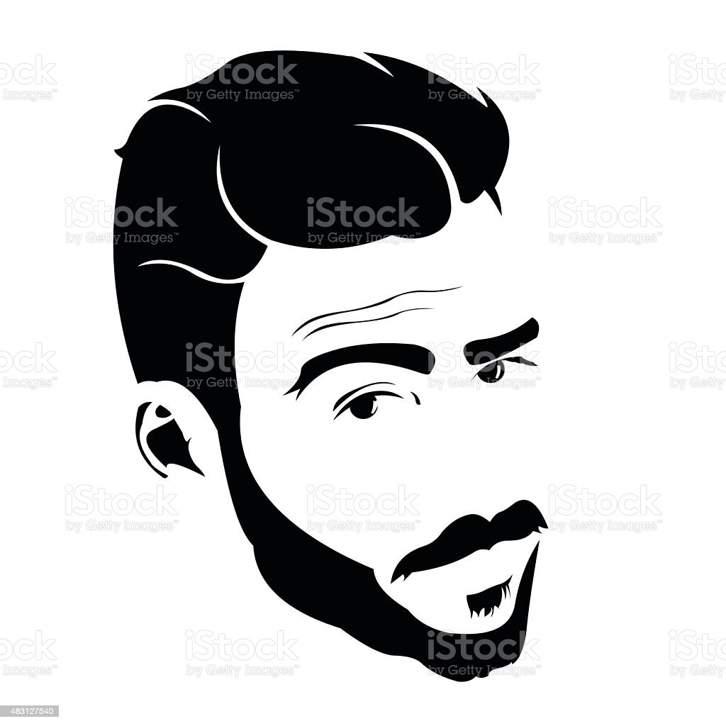 Portrait of young man looking at camera with raised eyebrow. vector art illustration