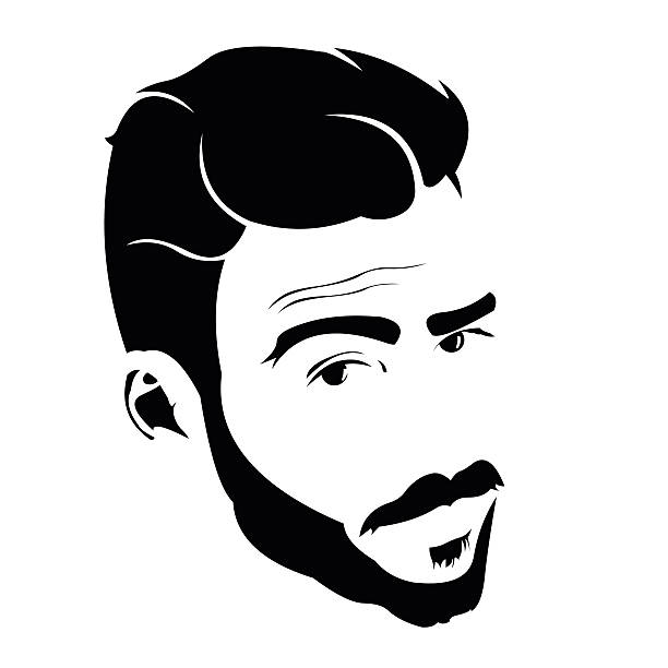 Portrait of young man looking at camera with raised eyebrow. Portrait of young bearded charmer looking at camera with raised eyebrow. Easy editable layered vector illustration. suave stock illustrations