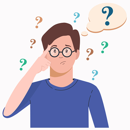Portrait of young man woman. Boy with question mark in think bubble. People thinking or solving problem. Dilemma vector flat cartoon concept illustration.