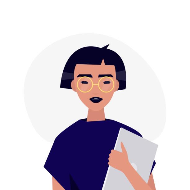 ilustraciones, imágenes clip art, dibujos animados e iconos de stock de un retrato del joven personaje milenario. asiática chica sosteniendo un ordenador portátil. ilustración de vector completamente editable, prediseñadas - asian woman