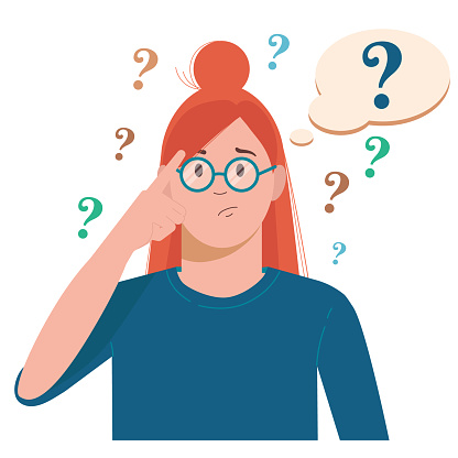 Portrait of young troubled woman. Girl with question mark in think bubble. People thinking or solving problem. Dilemma vector flat cartoon concept illustration.