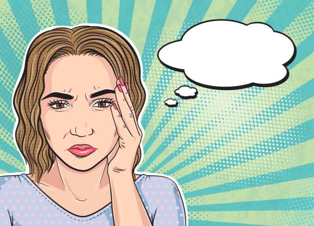ilustraciones, imágenes clip art, dibujos animados e iconos de stock de retrato de cara enfadada mujer joven, muy molesto y tensionado, reacción negativa con el pensamiento podría. ilustración de vector en estilo de comic retro del arte pop. - emoji perezoso