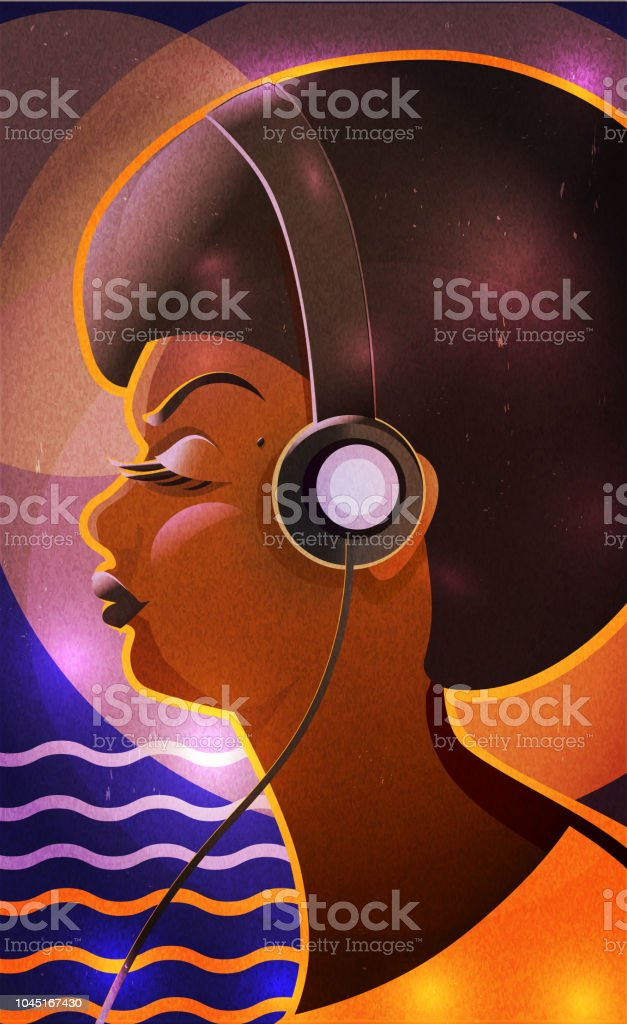 Portrait side view of a young african american female listening to music with headphones royalty-free portrait side view of a young african american female listening to music with headphones stock vector art & more images of adult