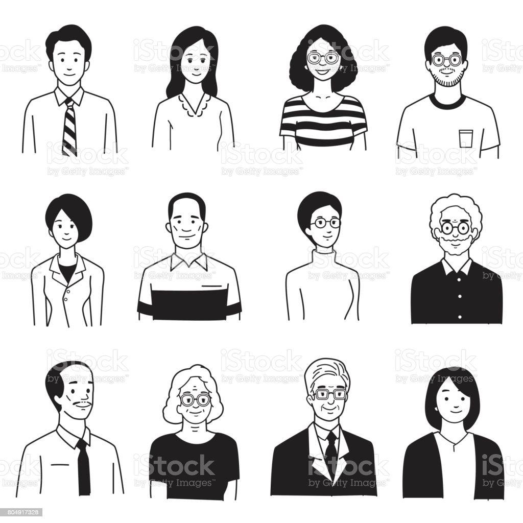 人々 の笑顔の肖像画 ベクターアートイラスト