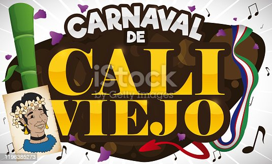istock Portrait, Sugarcane, Petals, Flag and Music Notes for Cali Viejo Carnival 1196385273