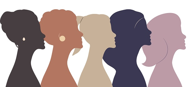 Portraits of five different women standing side by side. Vector abstract illustration with silhouettes of girls in profile.