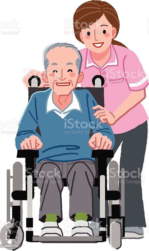 Portraits of happy elderly man in wheelchair and his nurse vector art illustration