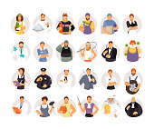Collection of avatars of people of different professions. Vector illustration