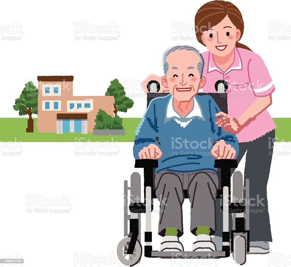 Portraits of smiling senior man in wheelchair and caregiver vector art illustration