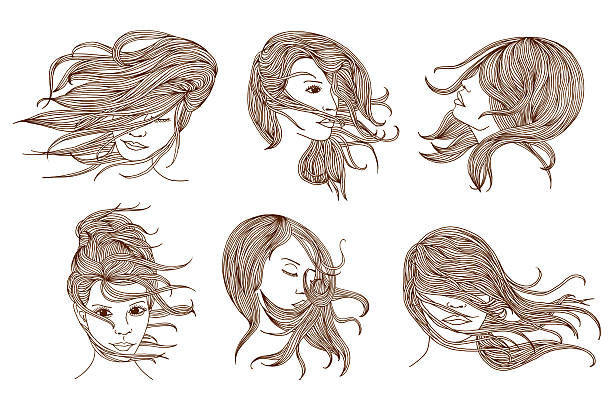 Portraits of women with long hair vector art illustration
