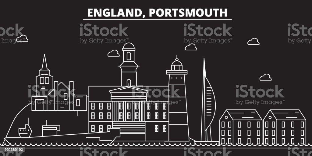 Portsmouth silhouette skyline. Great Britain - Portsmouth vector city, british linear architecture. Portsmouth travel illustration, outline landmarks. Great Britain flat icon, british line banner vector art illustration