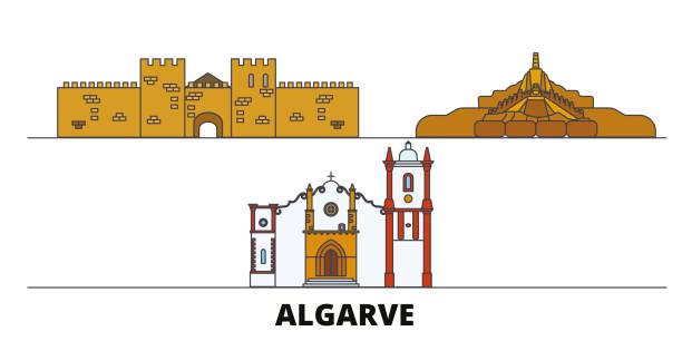 ilustrações de stock, clip art, desenhos animados e ícones de portugal, algarve flat landmarks vector illustration. portugal, algarve line city with famous travel sights, skyline, design. - algarve
