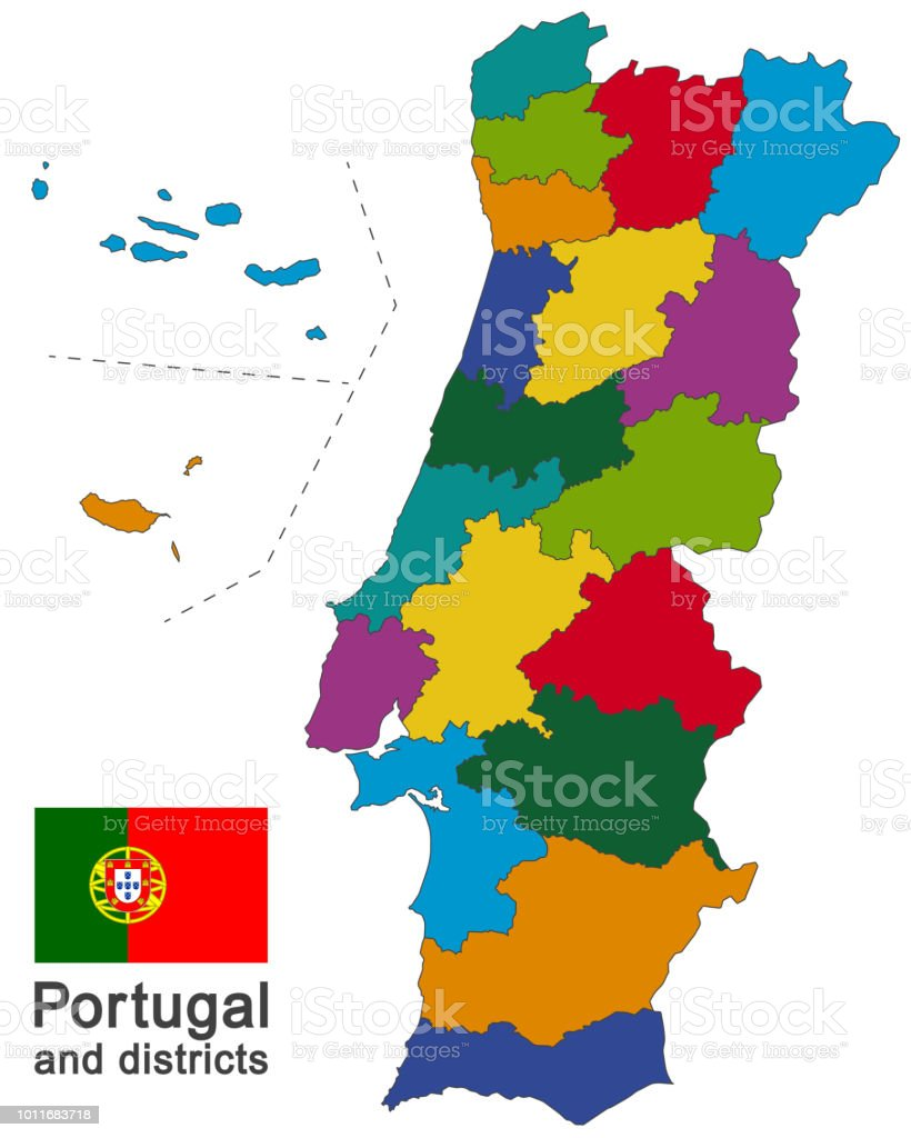 Portugal and districts - Royalty-free Alemanha arte vetorial