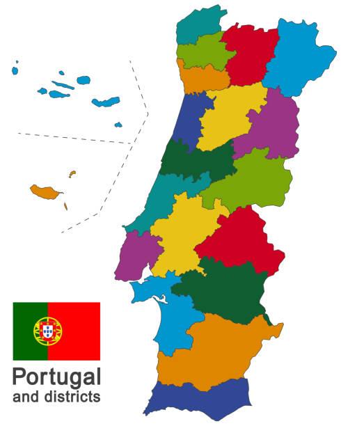 Portugal and districts - ilustração de arte vetorial