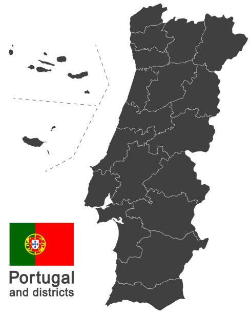 stockillustraties, clipart, cartoons en iconen met portugal en districten - portugal