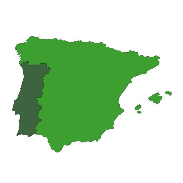 ilustrações de stock, clip art, desenhos animados e ícones de portugal and spain maps - portugal map