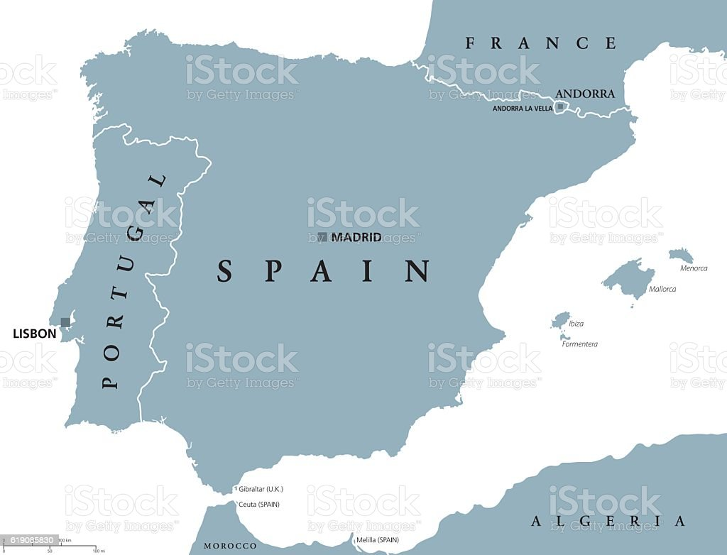 Ilustracin de portugal and spain political map y ms banco de portugal and spain political map ilustracin de portugal and spain political map y ms banco de gumiabroncs