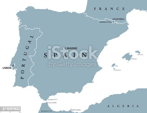 Portugal and Spain political map with capitals Lisbon and Madrid, Balearic Islands and national borders. Gray illustration of Iberian Peninsula with English labeling and scaling on white background.
