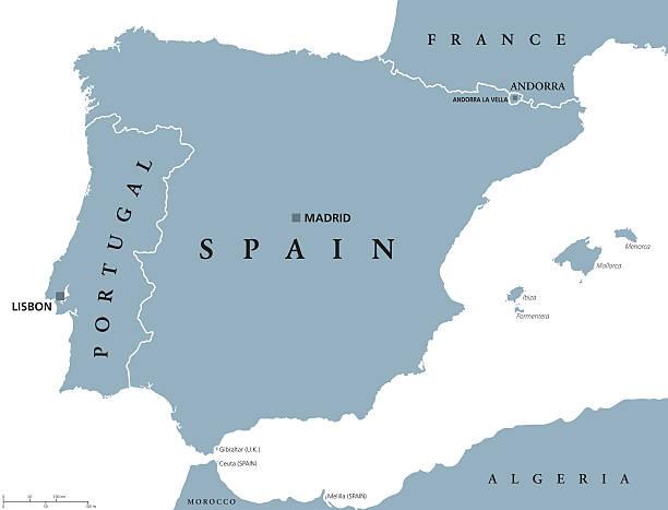 mapa polityczna portugalii i hiszpanii - lizbona stock illustrations