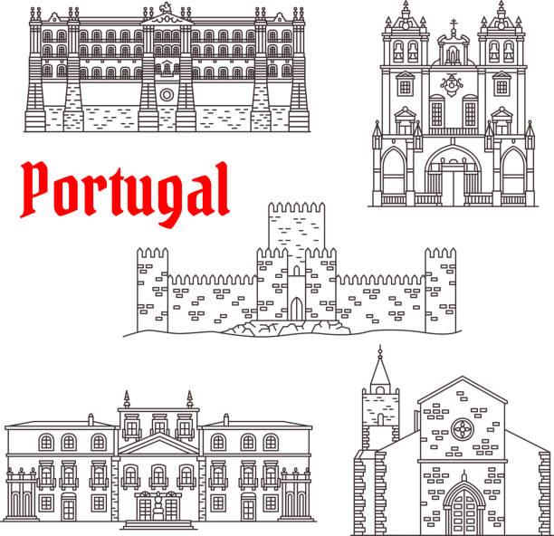 ilustrações de stock, clip art, desenhos animados e ícones de portugal architecture landmarks vector buildings - funchal madeira