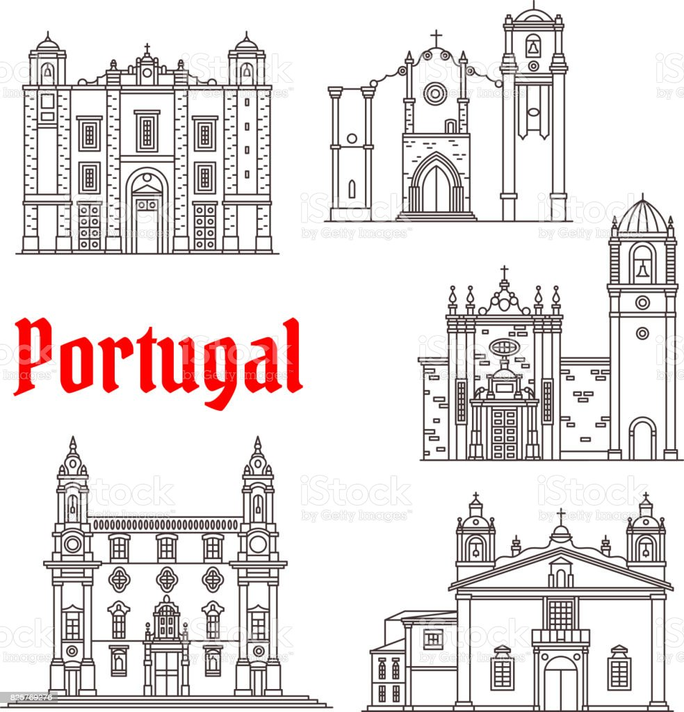 Monuments d'architecture Portugal vector bâtiments - Illustration vectorielle