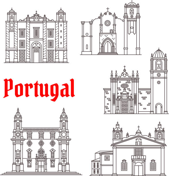 Portugal architecture landmarks vector buildings - ilustração de arte vetorial