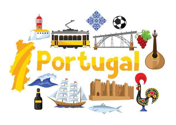 ilustrações de stock, clip art, desenhos animados e ícones de portugal background design. portuguese national traditional symbols and objects - porto portugal