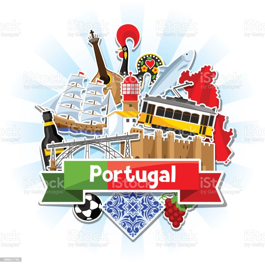 Portugal background with stickers. Portuguese national traditional symbols and objects - ilustração de arte vetorial