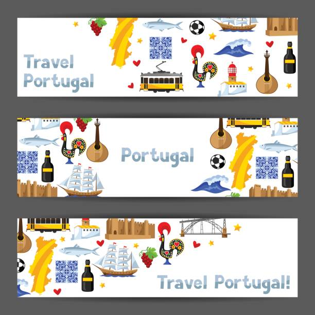 ilustrações de stock, clip art, desenhos animados e ícones de portugal banners. portuguese national traditional symbols and objects - porto portugal