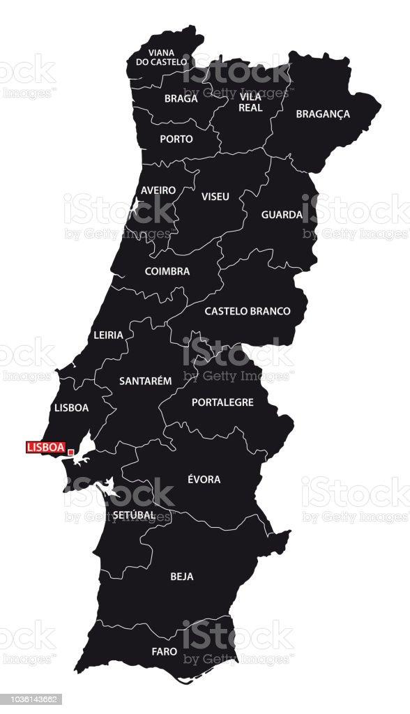 Carte administrative et politique de Portugal noir - Illustration vectorielle
