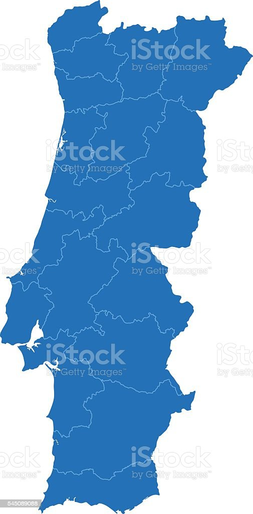 Portugal blue map on white background vector art illustration