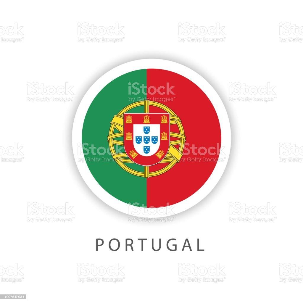 Portugal Button Flag Vector Template Design Illustrator - ilustração de arte vetorial