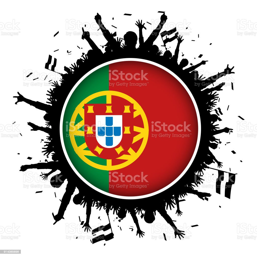 Portugal Button Flag With Soccer Fans 2018 Stock Vector Art More