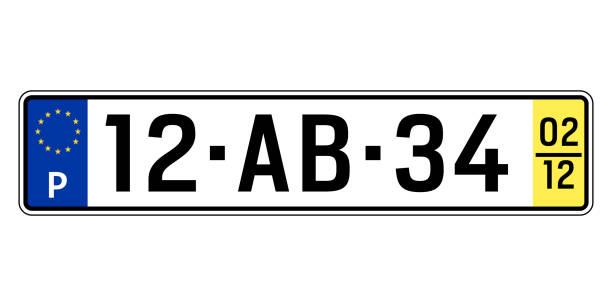 portugal-auto-platte. kfz-kennzeichen - nummernschilder stock-grafiken, -clipart, -cartoons und -symbole