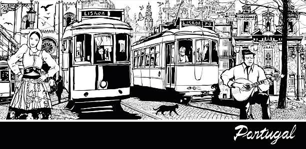 ilustrações de stock, clip art, desenhos animados e ícones de portugal-composição da cidade de lisboa - eletrico lisboa