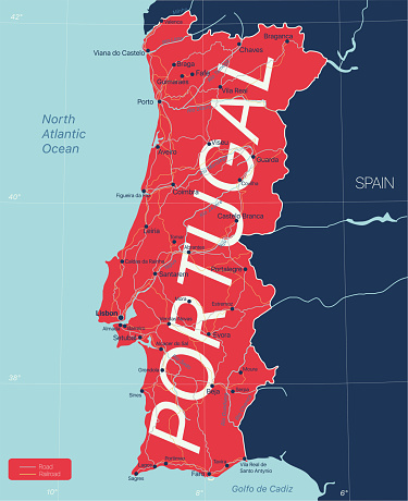 Portugal country detailed editable map