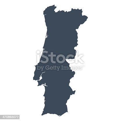 A graphic illustrated vector image showing the outline of the country Portugal . The outline of the country is filled with a dark navy blue colour and is on a plain white background. The border of the country is a detailed path.