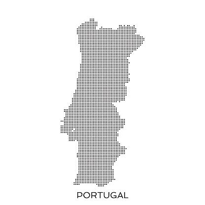Portugal dot halftone pattern map