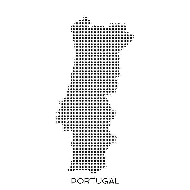 ilustrações de stock, clip art, desenhos animados e ícones de portugal ponto mapa padrão de meio-tom - mapa portugal