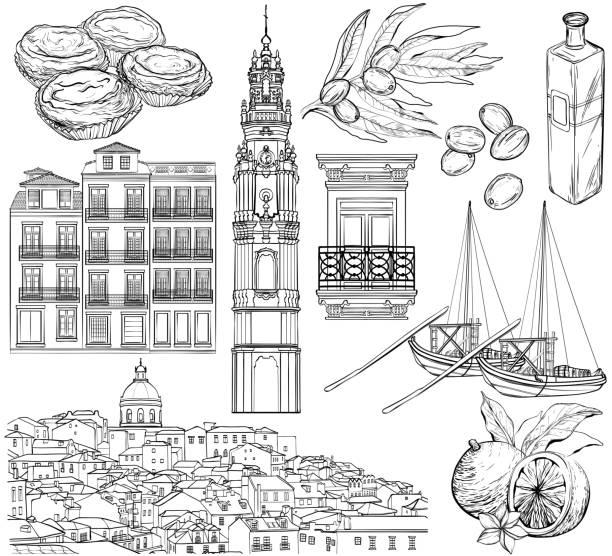 ilustrações de stock, clip art, desenhos animados e ícones de portugal drawings set. vector illustration - eletrico lisboa