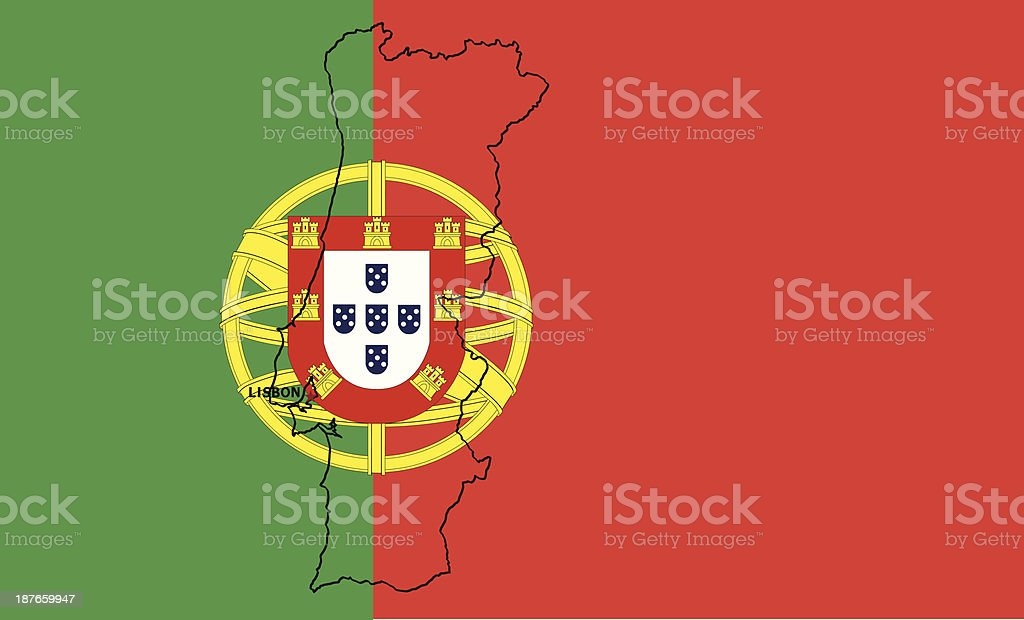 Portugal Flag And Map royalty-free stock vector art