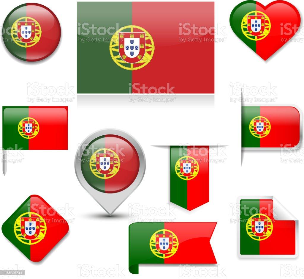 Coleção de Bandeira de Portugal - ilustração de arte vetorial