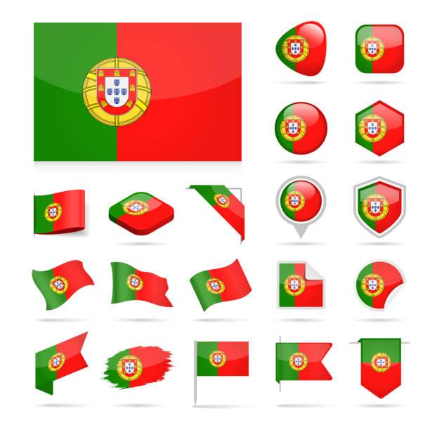 ilustrações de stock, clip art, desenhos animados e ícones de portugal - flag icon glossy vector set - portugal