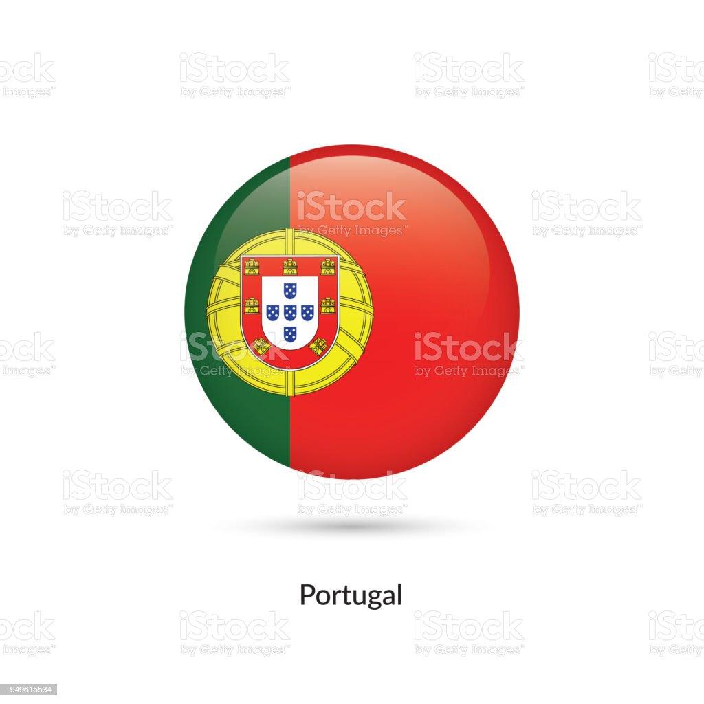 Portugal flag - round glossy button. - ilustração de arte vetorial