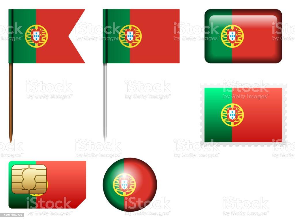 Portugal flag set - ilustração de arte vetorial